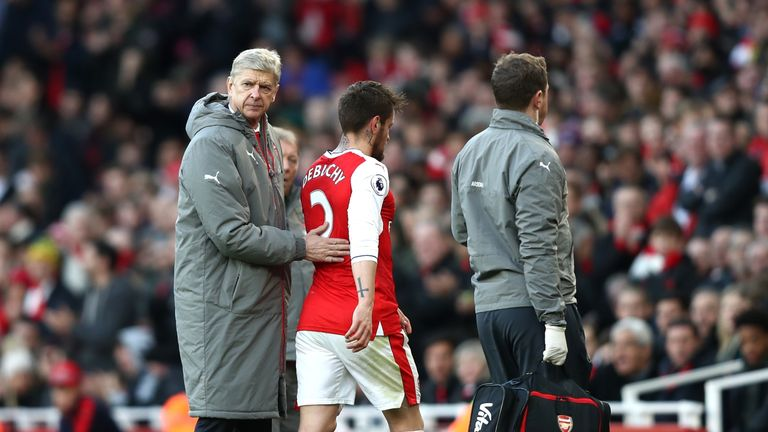 Mathieu Debuchy was substituted just 15 minutes into his Arsenal return