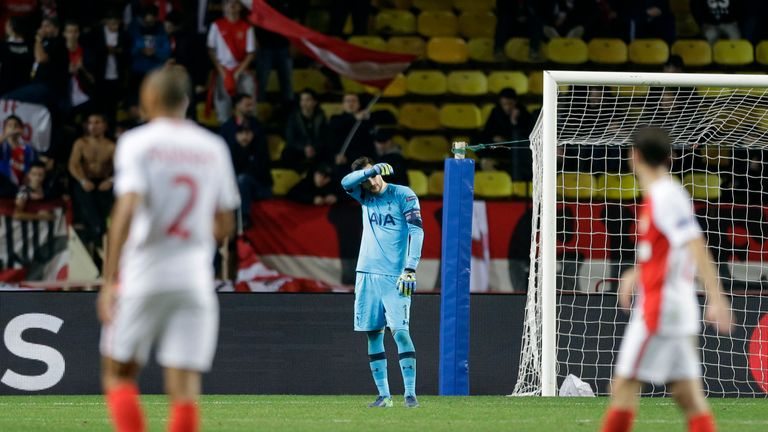Tottenham's goalkeeper Hugo Lloris shows his dejection