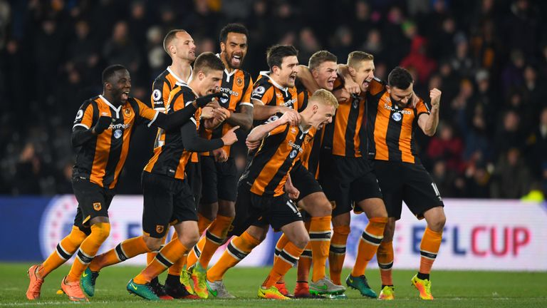 Hull celebrate their shoot-out win