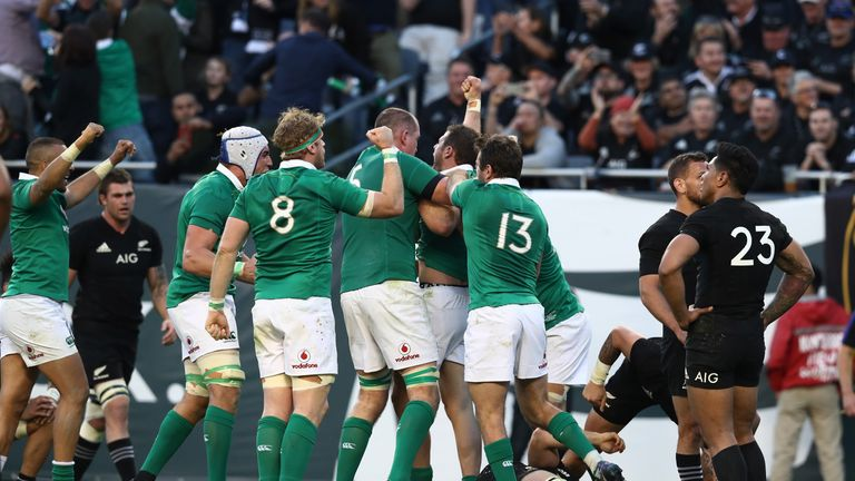 Ireland celebrate their first test win over New Zealand
