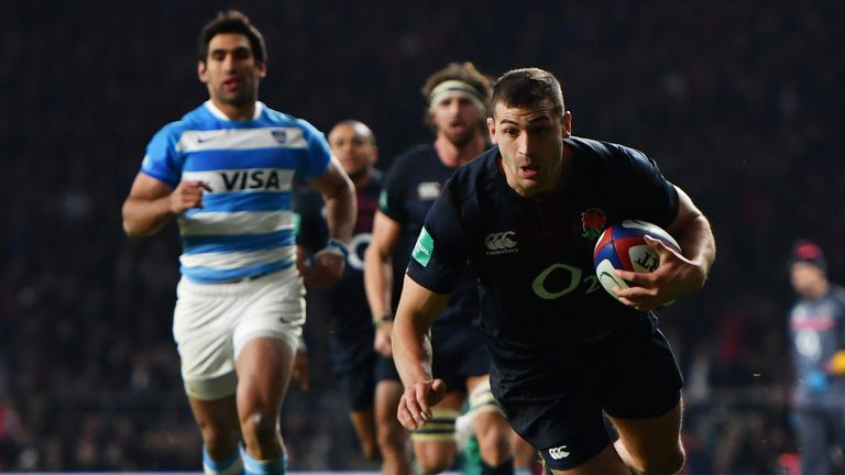 Jonny May scores a try for England against Argentina
