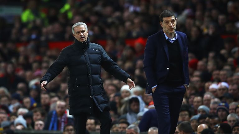 Jose Mourinho was sent to the stands as Manchester United were held at home to West Ham
