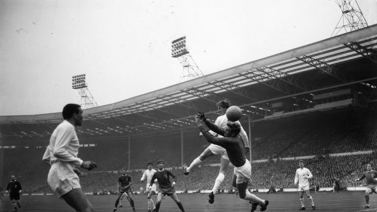 Action from 1965 FA Cup final between Liverpool and Leeds. Liverpool won 2-1 thanks to extra-time winner from Ian St John