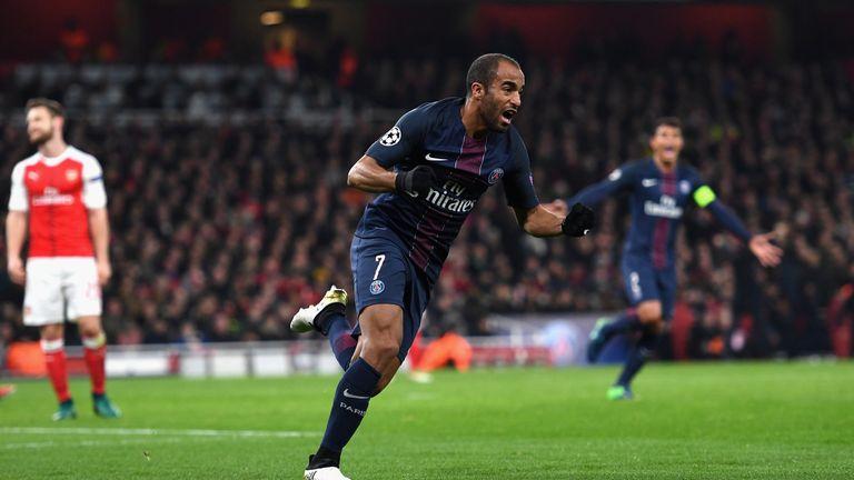 Lucas Moura of PSG celebrates scoring his side's second goal against Arsenal