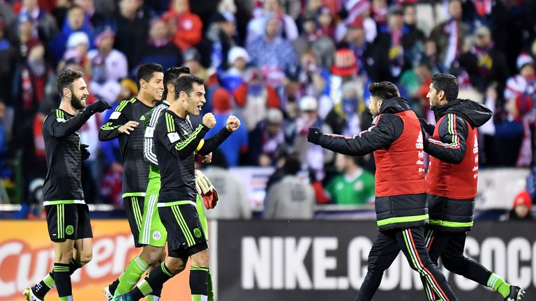 Mexico celebrate at the full-time whistle after Rafael Marquez's late ...