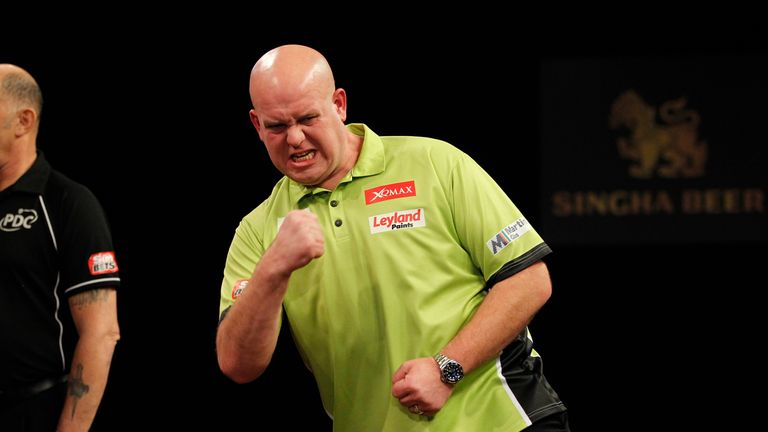 Michael van Gerwen is searching for a third successive Grand Slam title