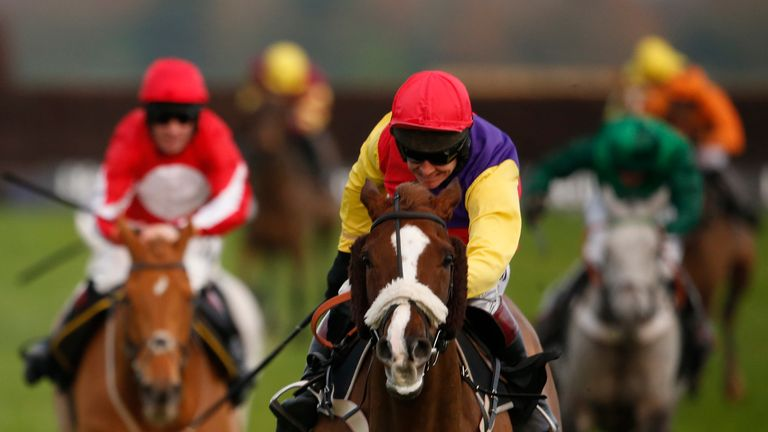 Native River comes home in front in the Hennessy Gold Cup.