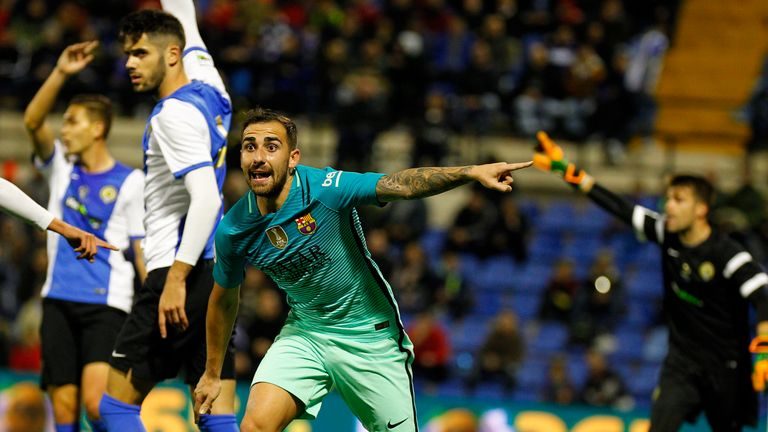 Barcelona's Paco Alcacer during the draw with Hercules