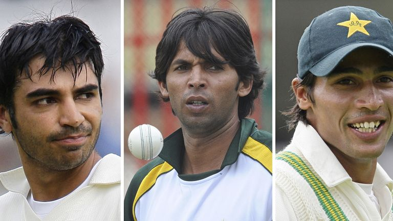 Pakistan cricketers Salman Butt (L), Mohammad Asif (C) and Mohammad Amir (R) were found guilty of spot-fixing in 2011