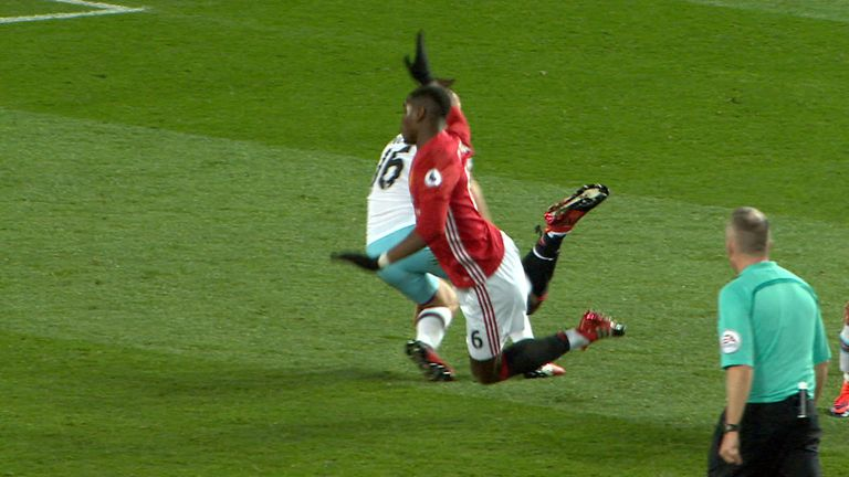 Paul Pogba was booked for this incident