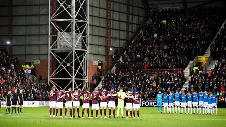 Rangers and Hearts also held a minute's silence before their match