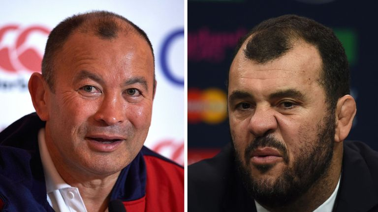 England head coach Jones and Australia head coach Michael Cheika