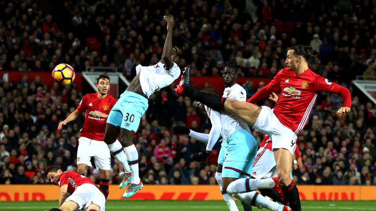 Diafra Sakho put West Ham ahead at Old Trafford before going off injured