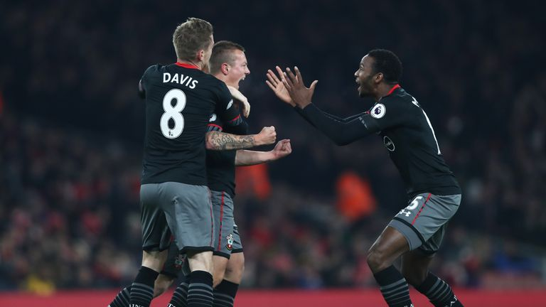 Jordy Clasie of Southampton celebrates with team mates after scoring against Arsenal