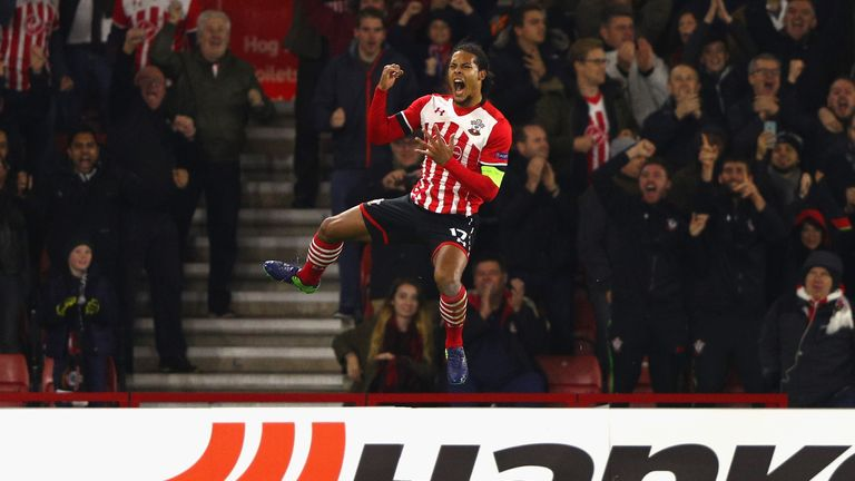 Van Dijk celebrates after scoring for Southampton against Inter