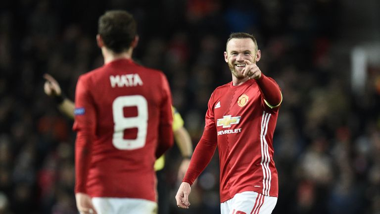 Rooney scored his 39th European goal for United against Feyenoord