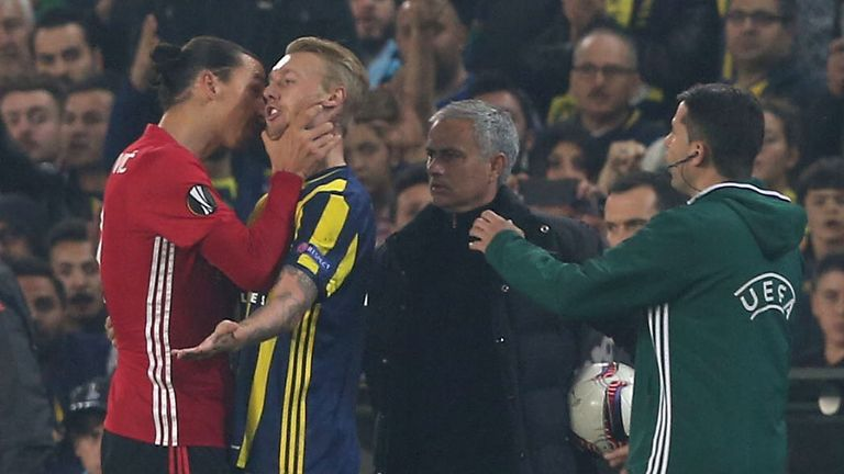 Zlatan Ibrahimovic was involved in an altercation with Simon Kjaer