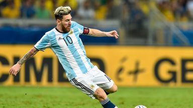Lionel Messi in action for Argentina, who top the world rankings
