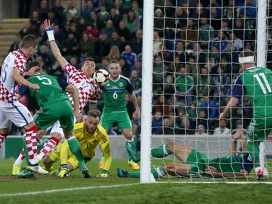Croatia's Mario Mandzukic (third from left) scores his sides first goal of the game