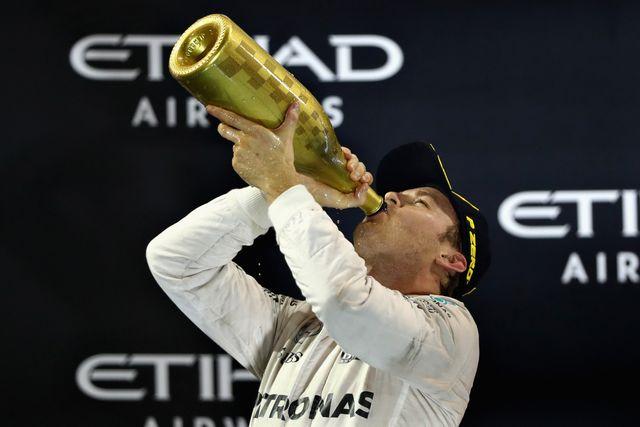 Nico Rosberg begins the celebrations