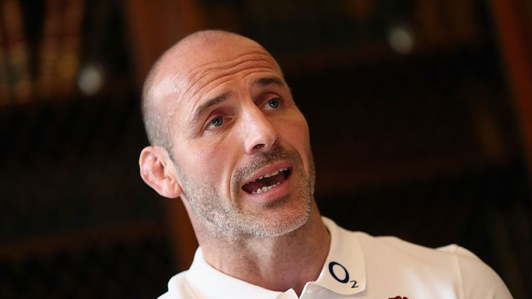 Paul Gustard, the England defence coach faces the press during the England media session held at Pennyhill Park on November 7