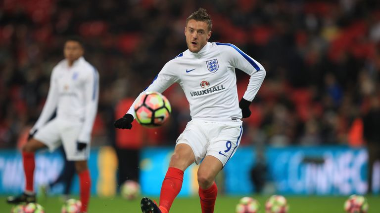 England's Jamie Vardy warms up before the International Friendly at Wembley Stadium, London.