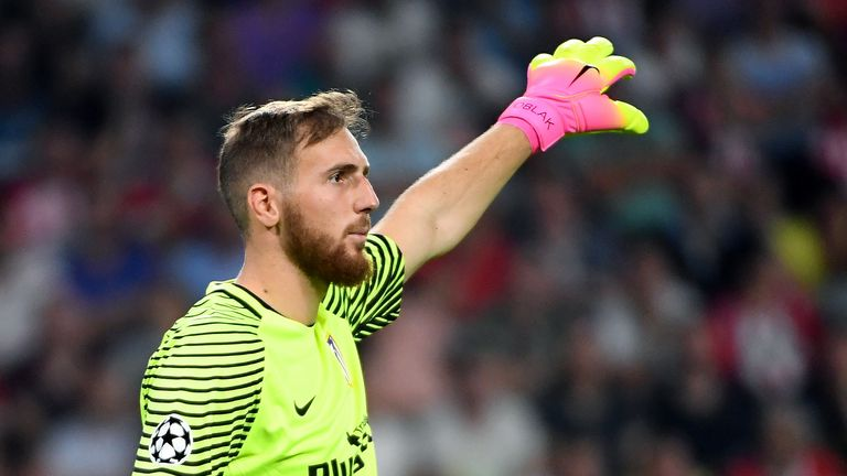 Atletico Madrid's Slovenian goalkeeper Jan Oblak gestures during the UEFA Champions League football match between PSV Eindhoven and Atletico Madrid at Phil