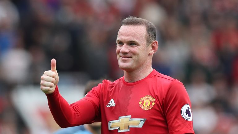 Manchester United's Wayne Rooney gives the thumbs up during the Premier League match v Manchester City at Old Trafford, Manchester