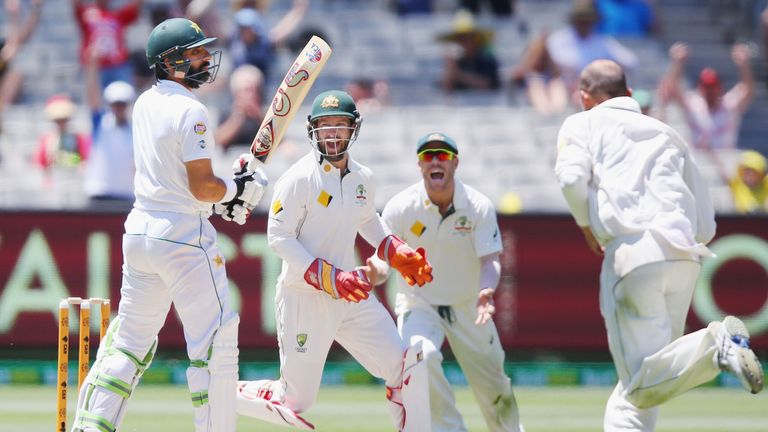 Misbah-ul-Haq is dismissed for a duck in Melbourne on Friday