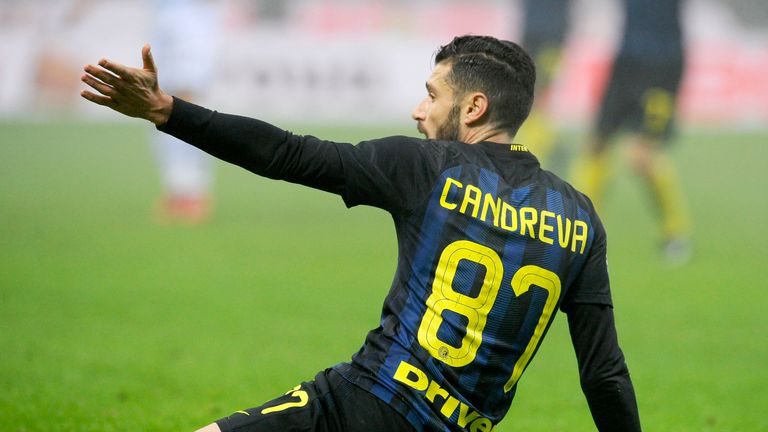 Inter Milan midfielder Antonio Candreva appeals for a free-kick during his side's victory on Wednesday