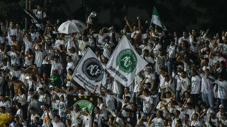 Fans packed into Chapecoense's ground on Wednesday to remember their fallen heroes