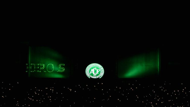 The tribute began at the time Chapecoense were due to kick off in the Copa Sudamericana final