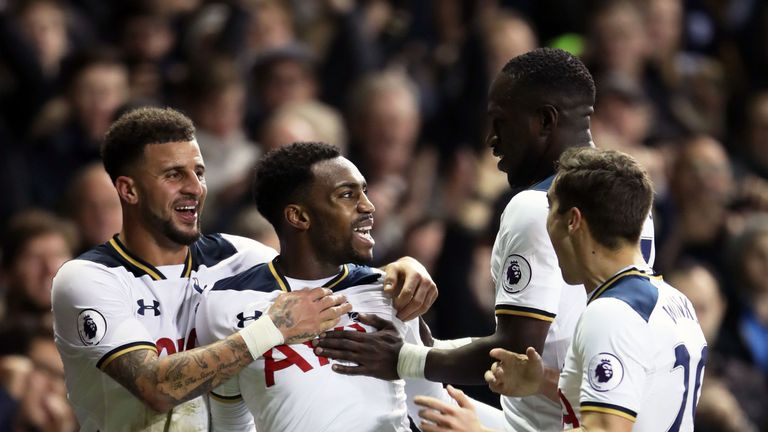 Tottenham celebrate Danny Rose's winner