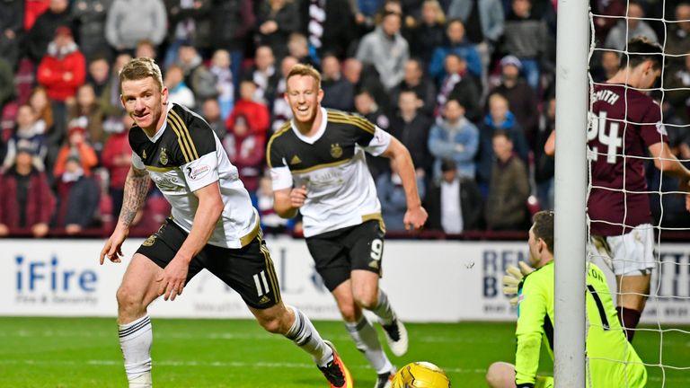 Jonny Hayes scores Aberdeen's winner at Tynecastle