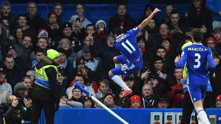 Pedro scored Chelsea's opener in their club record-breaking win against Bournemouth