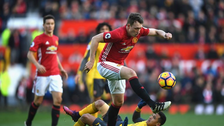 Phil Jones in action during Manchester United's 1-1 draw with Arsenal