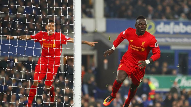 Sadio Mane celebrates after scoring Liverpool's winner against Everton