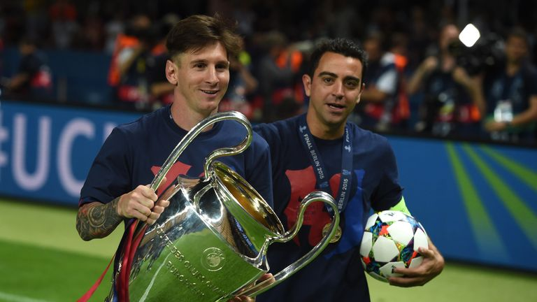 Lionel Messi and Xavi won the Champions League together in 2015