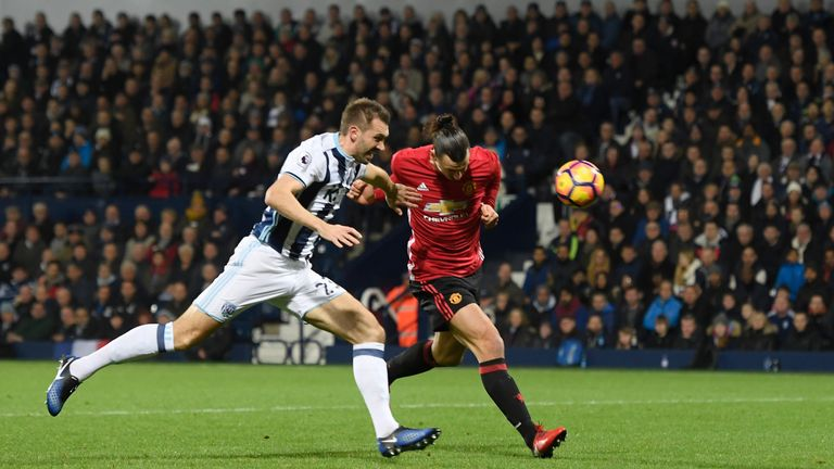 Swedish striker Zlatan Ibrahimovic heads Man Utd into the lead against West Brom