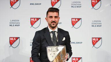 David Villa shows off his MLS MVP trophy in New York