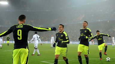 Lucas Perez celebrates his second goal of the game against Basel