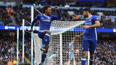 Chelsea's Brazilian midfielder Willian (C) celebrates scoring his team's second goal with Chelsea's Brazilian-born Spanish striker Diego Costa during the E