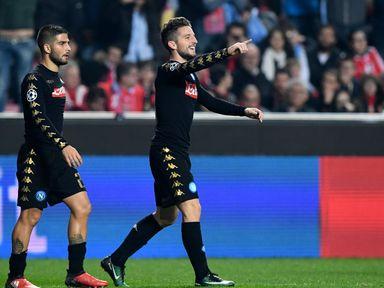 Napoli midfielder Dries Mertens (R) celebrates after scoring