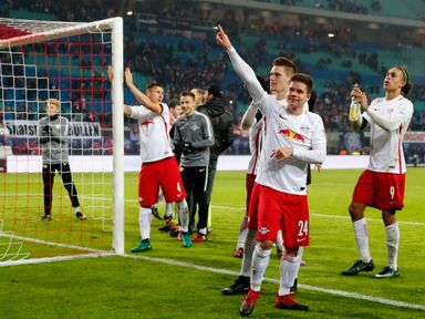 RB Leipzig celebrate moving back to the top of the table