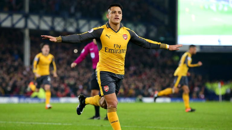 LIVERPOOL, ENGLAND - DECEMBER 13:  Alexis Sanchez of Arsenal celebrates after scoring the opening goal during the Premier League match between Everton and