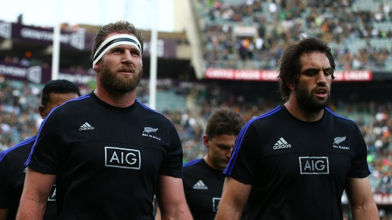 DURBAN, SOUTH AFRICA - OCTOBER 08: Kieran Read (captain) of New Zealand with Sam Whitelock of New Zealand during the The Rugby Championship match between S