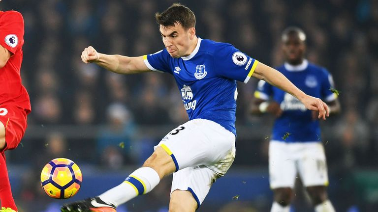Everton full-back Seamus Coleman clearing the ball against Liverpool
