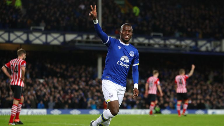 Enner Valencia celebrates after opening the scoring for Everton against Southampton