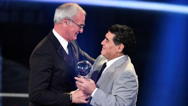 Ranieri was presented with the award by Diego Maradona