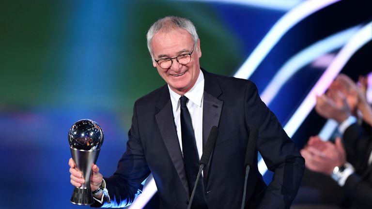 Image result for Claudio RANIERI PIC TO receive fifa award of the year 2016